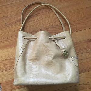 Brahmin Leather Croc Bucket Bag